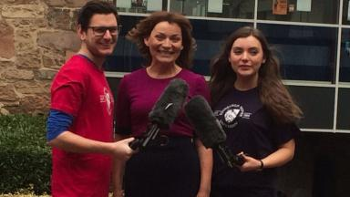 Visit: Lorraine Kelly met students at Napier.
