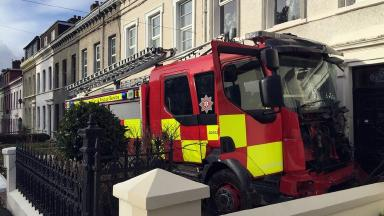 Crash: The fire engine was taken at 4.30am and crashed into several cars and houses during the joyride