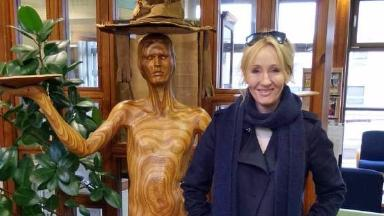 JK Rowling: Author 'apparated' to library.