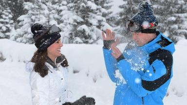 The Duke and Duchess of Cambridge enjoyed a snowball fight in the French Alps.