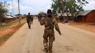 Soldiers conducting a security patrol against Al-Shabaab militants last year.