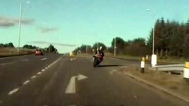 Police motorcycle chase on the A90