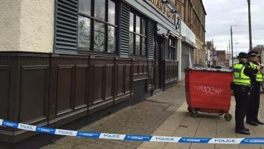 Fire: The blaze broke out next to a pub.