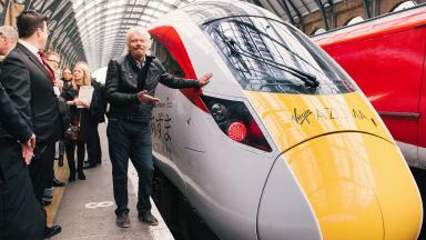 Faster trains: Sir Richard Branson unveiled a new fleet.