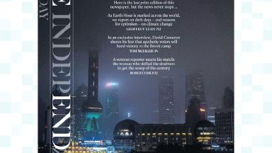 The Independent On Sunday's final front page