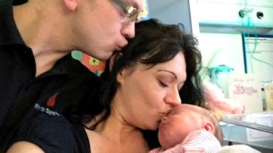 Donna Cross with her boyfriend Jon Stone and their newborn Jordannah-Skye.