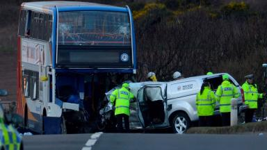 Bus crash: Scene in Ardrossan after fatal collision.