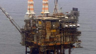 Brae Alpha oil platform in North Sea. Uploaded from STV broadcast footage March 29 2016