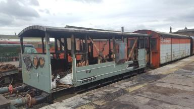 Damage: A fire which ripped through 1940's LMS brakevan is thought to have been deliberate (submitted pic)