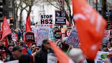 Campaigners marching in an anti-austerity demonstration