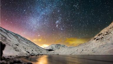 The Frozen Hills:  Loch Restil with Comet Lovejoy in the top right hand corner.