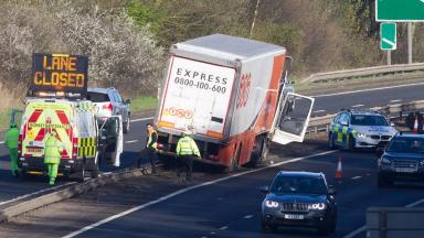 Crash: The lorry ended up in the central reservation.