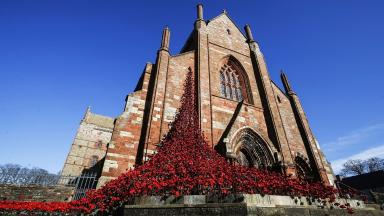 Orkney: Weeping Window display at St Magnus Cathedral.