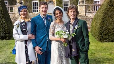 The happy couple were joined by groom's famous parents Mick Jagger and Jerry Hall for their wedding