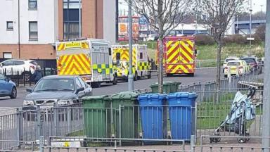 Dalserf Court: Emergency services outside flat where bodies were found.