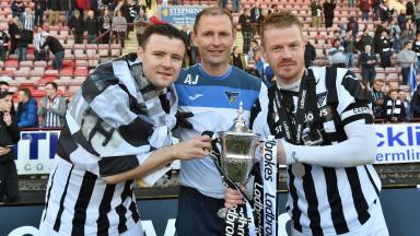 Party: Dunfermline picked up the League One trophy.