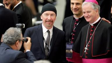 The Edge became the first rock star to perform at the Sistine Chapel on Saturday.