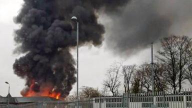 Blaze: Smoke and flames at Stobhill Hospital in Springburn, Glasgow.