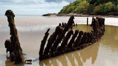 Shipwreck: Remains of the Monreith in Kirkcudbright Bay.