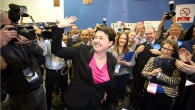 Scottish Conservative leader Ruth Davidson arrives at a Scottish Parliament election count at the Royal Highland Centre, Ingliston, Renfrewshire. Uploaded May 6 2016