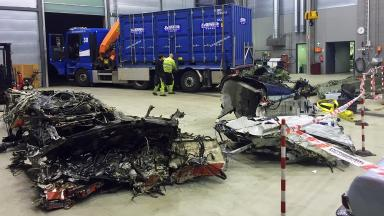 Wreckage: Remains of helicopter after Norway crash.