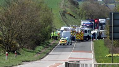 A90: The scene of the fatal collision on Thursday.