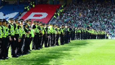 Hampden: Police on the pitch on May 21.
