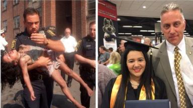Then and now: Peter Getz in 1998 carrying Josi Aponte away from the fire and 18 year later, at her graduation.