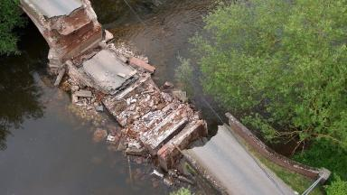 The Grade II listed bridge collapsed 20ft into the River Teme.