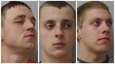 Rapists: Nerijus Radavicius (left), Ovidijus Kavaliauskas (centre) and Justinas Gubinas (right).