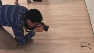 One gallery visitor was spotted photgraphing the prank artwork.