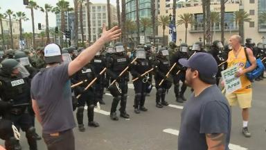 35 arrests were made during the protest against Donald Trump in California
