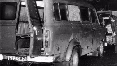 The bullet-riddled minibus where 10 Protestant workmen were shot dead