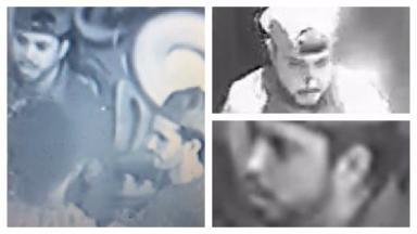 Attack: CCTV images of two men outside Boteco Do Brazil.