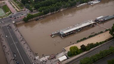 Taken from the Eiffel Tower, the picture shows the banks of the Seine which have been closed