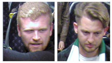 CCTV: Police want to speak to two men over the attack.