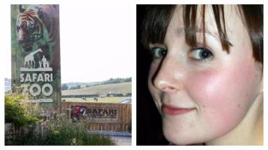 Composite of Sarah McClay and zoo where she was mauled to death by a tiger in Cumbria