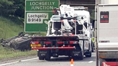 Wreckage: The car flipped on to its roof near Lochgelly.