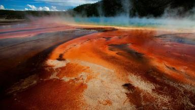 The hot springs in Yellowstone National Park attract thousands of visitors.