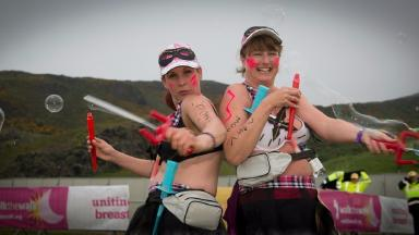 Charity: Walkers raised money to improve the lives of people with cancer.