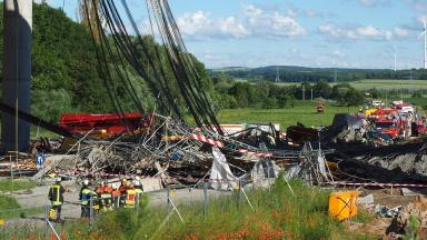 The collapsed section of bridge in Bavaria