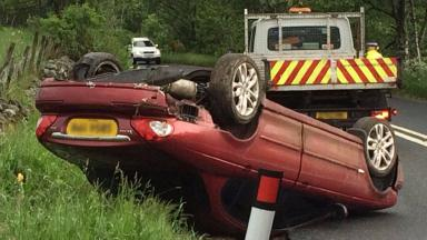 Jaguar: The aftermath of the one-car crash.