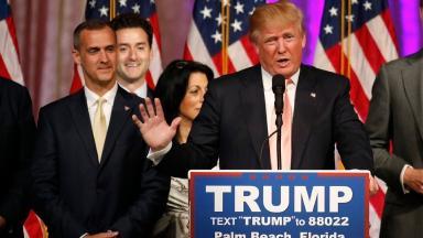 Corey Lewandowski (L) pictured with Donald Trump.