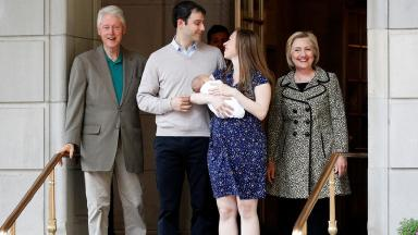 The Clinton family leaving the hospital in New York on Monday.