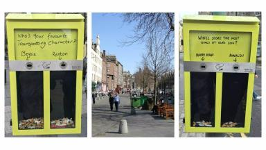 Neat Streets: The yellow voting bins in the Grassmarket.