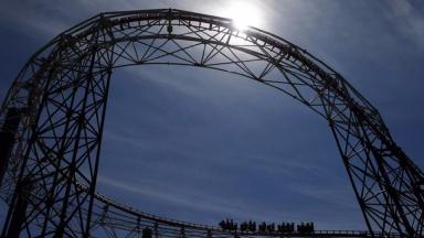 A stock picture of a rollercoaster at Blackpool Pleasure Beach.