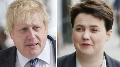 Blue Steel: Scottish Tory leader took on her party's blond bombshell.
