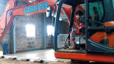 Jordan Gibbins: 'Happiest driving a digger or up to his elbows in grease'.