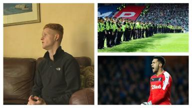 Court: Greg Binnie, left, sentenced for behaviour towards Wes Foderingham at Hampden.