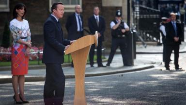 David Cameron: The Prime Minister announces his resignation.